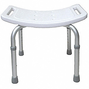 "19-1/4"" Adjustable Plastic Adjustable Tub and Shower Seat, White"