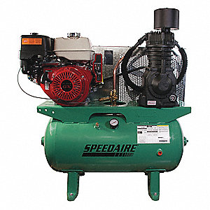 "30 gal. 48"" x 41"" x 22"" Stationary Air Compressor&#x3b; Fuel Type: Gasoline"