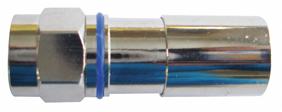 Coaxial Connector,  F-Type Male,  RG-6 with Single/Tri/Quad Shielding,  Silver,  0 to 1 GHz,  PK 10
