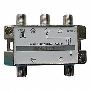5-Port Coaxial Cable Splitter, Silver