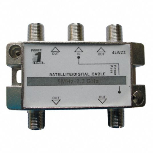 Cable Splitter,  Coaxial,  F-Type Female,  (4) F-Type Females,  Silver,  Number of Ports 5