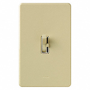Toggle, Slide Lighting Dimmer, Halogen, Incandescent Light Technology, 1-Pole, Ivory