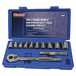 "1/2""Drive SAE Chrome Socket Wrench Set, Number of Pieces: 12"