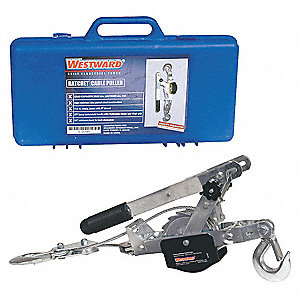 Ratchet Puller, 1500 lb. Lifting Capacity, 7-1/2 ft. Cable Length