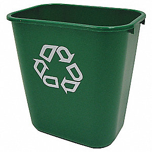 7 gal. Green Desk-Side Recycling Container, Open Top