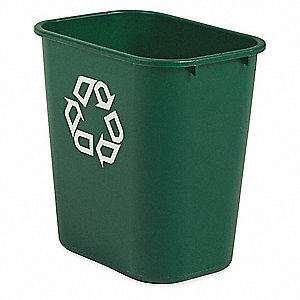 7 gal Rectangular Recycling Wastebasket,  Plastic,  Green