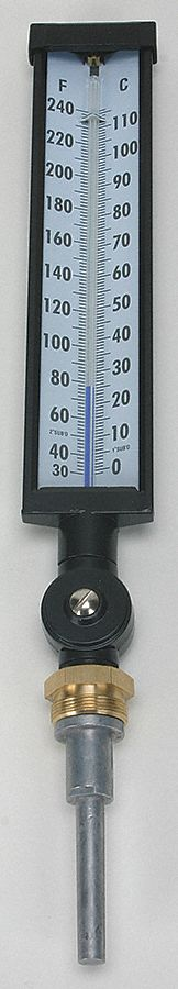 Industrial Glass Thermometer,  Lower, Variable Angle Connection Location,  2 1/2 in Insertion Length