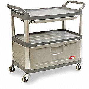 Enclosed Service Cart,Gray,3 Shelf