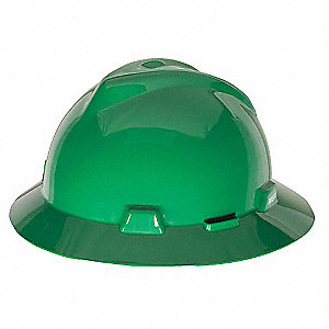 Full Brim Hard Hat, 4 pt. Ratchet Suspension, Green, Hat Size: One Size Fits Most