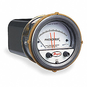 "1/8"" FNPT Differential Pressure Gauge with 3-3/4"" Dial, 0 to 2 In. H2O, Die Cast Aluminum"