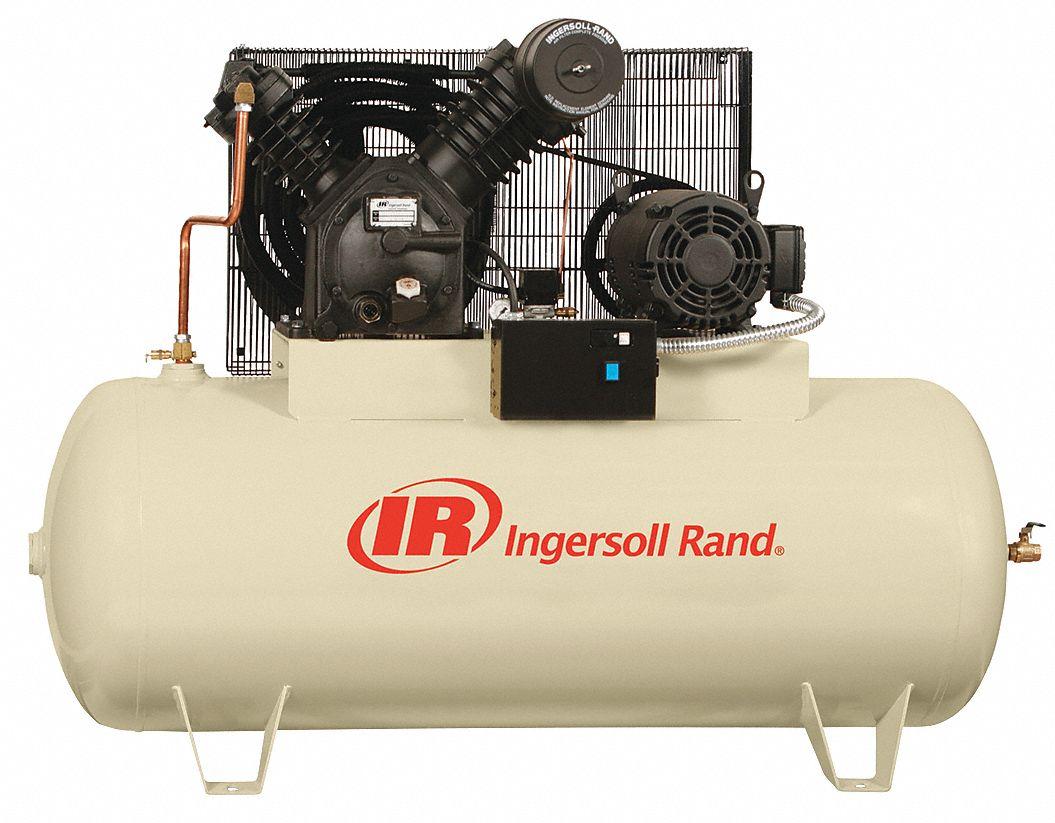 INGERSOLL RAND 3 Phase - Electrical Horizontal Tank Mounted 10.0HP ...
