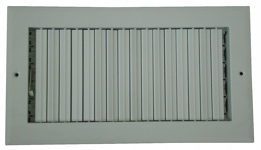 Sidewall/Ceiling Register, 1-Way Adjustable Curved Blade, White, 6 Max   Duct Height (In )