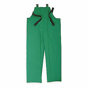 Flame Resistant Rain Bib Overall, PPE Category: 0, High Visibility: No, PVC, L, Green