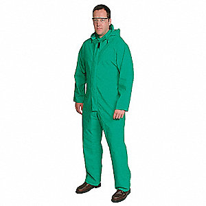 Unisex PVC Flame-Resistant Coverall Rainsuit with Detachable Hood, Green, M