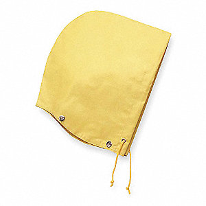 0.46 mm Exterior: 100% SBR Rubber Interior: 100% Polyester Drawstring Rain Hood, Yellow