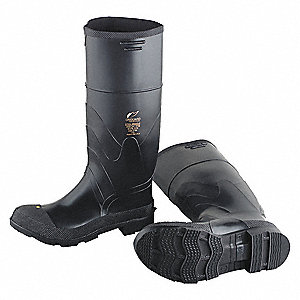 "16""H Men's Knee Boots, Plain Toe Type, PVC Upper Material, Black, Size 10"