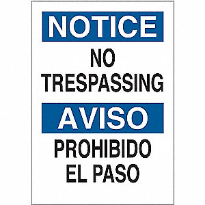 "Trespassing and Property, Notice/Aviso, Fiberglass, 20"" x 14"", With Mounting Holes"