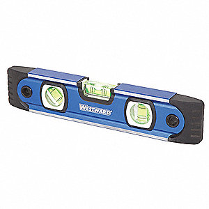"Magnetic, Aluminum Torpedo Level, 9"" Length, Top Read: No"