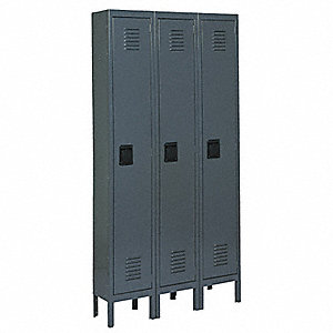 Wardrobe Locker,Lvrd,3 Wide, 1 Tier,Gray