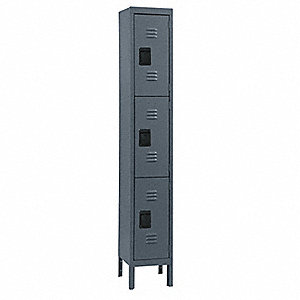 Wardrobe Locker,Lvrd,1 Wide, 3 Tier,Gray