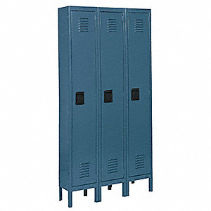 "Blue Wardrobe Locker, (3) Wide, (1) Tier Openings: 3, 36"" W X 18"" D X 78"" H"