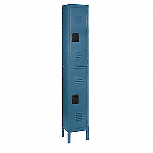 Wardrobe Locker,Lvrd,1 Wide, 2 Tier,Blu