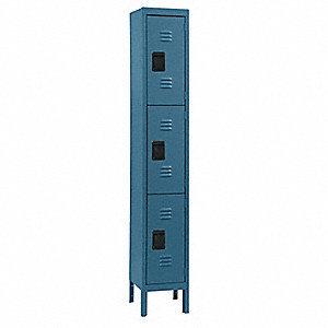Wardrobe Locker,Lvrd,1 Wide, 3 Tier,Blu