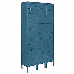 "Blue Box Locker, (3) Wide, (6) Tier , Openings: 18, 36"" W X 12"" D X 78"" H"