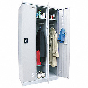 "Gray Wardrobe Locker, (3) Wide, (1) Tier Openings: 3, 36"" W X 18"" D X 72"" H"