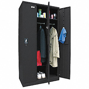 Black Wardrobe Locker, (3) Wide, (1) Tier Openings: 3