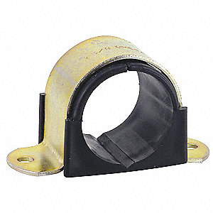 Surface Mounted 2 Hole Cushioned Clamp, Electro Galvanized Gold