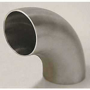 "316L Stainless Steel Short Tube Elbow, 90°, Butt Weld Connection Type, 2"" Tube Size"