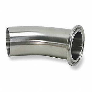 "316L Stainless Steel Elbow, 45°, Clamp x Weld Connection Type, 1-1/2"" Tube Size"