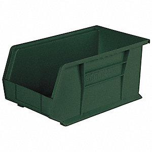 "Recycled Hang and Stack Bin, Hunter Green, 14-3/4"" Outside Length, 8-1/4"" Outside Width"
