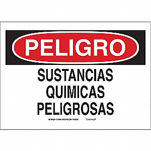 "Chemical, Gas or Hazardous Materials, Peligro, Fiberglass, 14"" x 10"", With Mounting Holes"