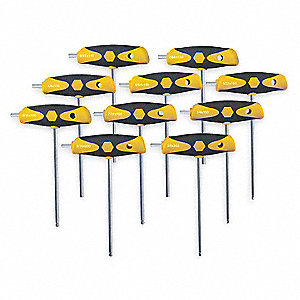 Long T-Shaped Ergonomic SAE Chrome Ball End Hex Key Set, Number of Pieces: 10