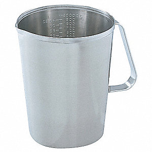2 qt. Stainless Steel Graduated Measure, Gray