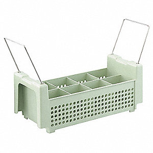"18"" x 7-1/4"" x 13-1/2"" Polypropylene Flatware Rack with 8 Compartments, Light Green"