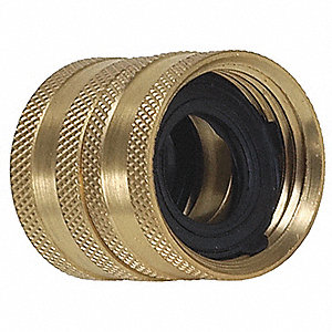 "Brass Hose To Hose Connector, 3/4"" GHT Connection"