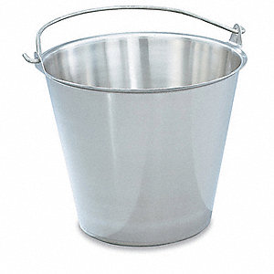 Stainless Steel Tapered Dairy Pail, Silver