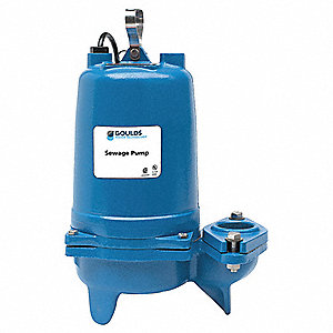 1/2 HP Manual Submersible Sewage Pump, 115 Voltage, 90 GPM of Water @ 15 Ft. of Head