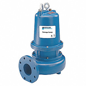 3 HP Manual Submersible Sewage Pump, 230 Voltage, 390 GPM of Water @ 15 Ft. of Head