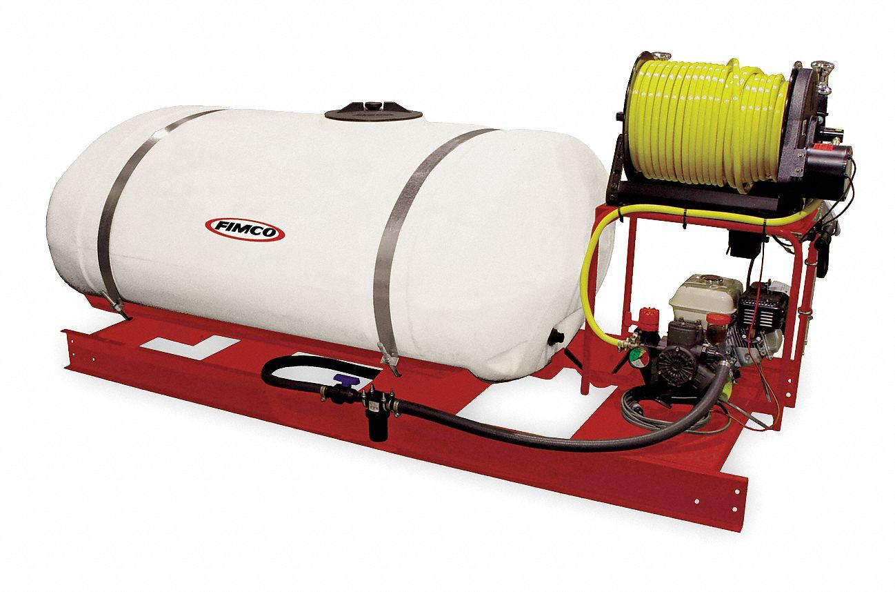 Skid Sprayer, Tank Capacity 300 gal , Flow Rate 10 6 gpm, 580 PSI, Hose  Length 300 ft