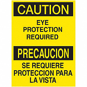 "Personal Protection, Caution/Precaucion, Aluminum, 7"" x 10"", With Mounting Holes"