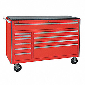 "Red Rolling Cabinet, 43-1/2"" H X 60"" W X 24"" D, Number of Drawers: 11"
