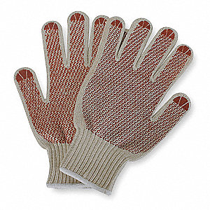 White/Red Knit Gloves, Polyester/Cotton, Size Men's L, 7 Gauge