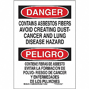 "Health Hazard, Danger/Peligro, Plastic, 14"" x 10"", With Mounting Holes, Not Retroreflective"