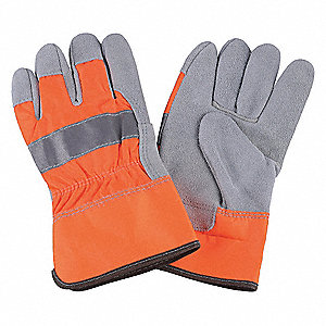 Cowhide Leather Work Gloves, Safety Cuff, Hi-Visibility Orange, Size: S, Left and Right Hand