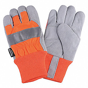Cowhide Leather Work Gloves, Knit Wrist Cuff, High Visibility Orange, Size: L, Left and Right Hand