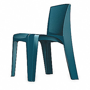 Slate Blue Polypropylene Stacking Chair with Slate Blue Seat Color, 1EA